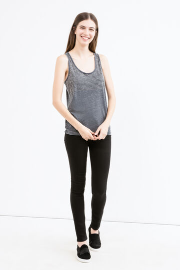 Cotton blend top with raw edge hems, Black, hi-res