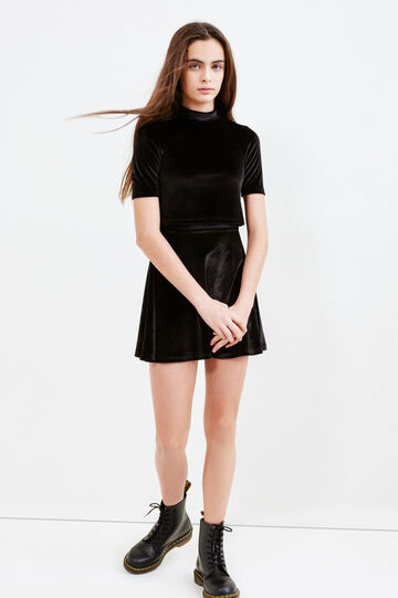 Teen short-sleeved chenille dress, Black, hi-res