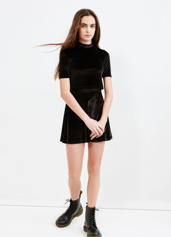 Teen short-sleeved chenille dress | OVS