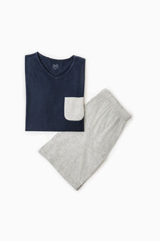 Cotton pyjamas with top and Bermuda shorts, Navy Blue, hi-res