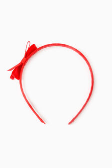 Solid colour hairband with bow, Red, hi-res