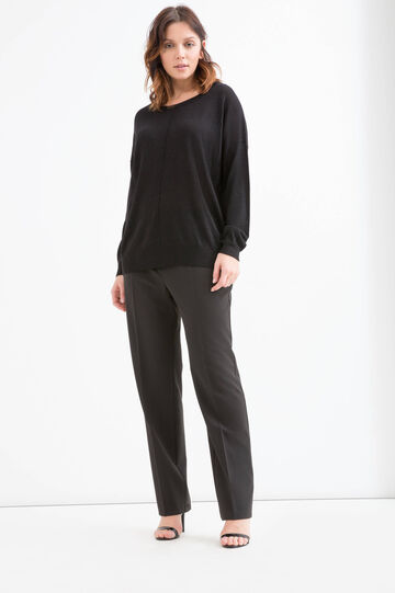 Curvy viscose and lurex pullover, Black, hi-res