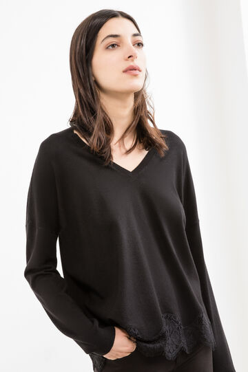 Viscose and modal blend pullover with lace, Black, hi-res