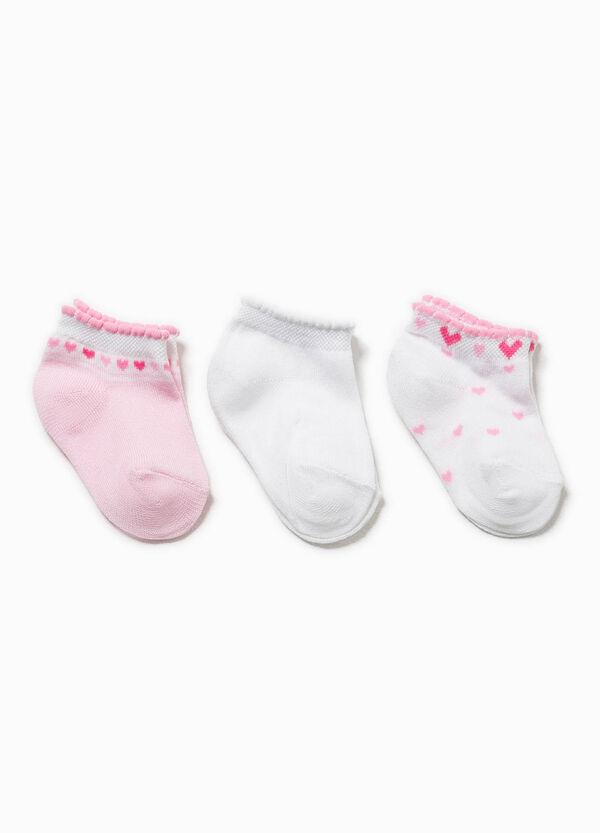 Set tre paia di calze con ricamo cuori | OVS