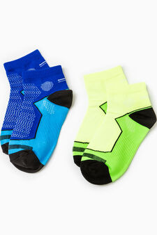 Two-pack embroidered sports socks, Blue/Yellow, hi-res