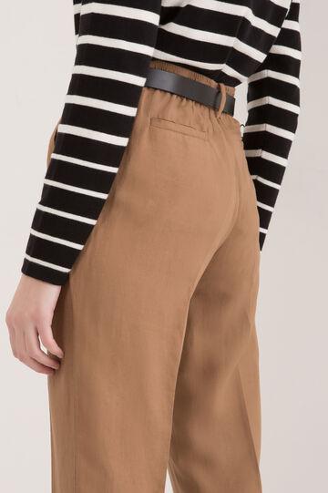 Capri pants in linen blend, Light Tobacco Brown, hi-res
