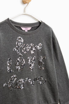 Sequinned sweatshirt in 100% cotton, Dark Grey, hi-res