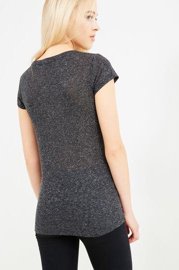 T-shirt lunga misto lino stampa lettering, Grigio scuro, hi-res