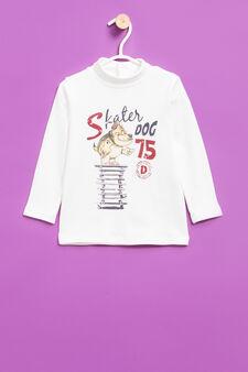 Printed 100% cotton turtleneck jumper, Milky White, hi-res