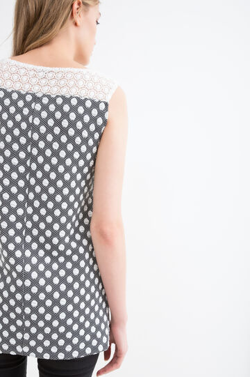 Long vest with polka dot pattern, Black/White, hi-res