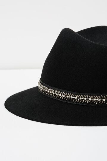 Cappello con laccio in perline e strass, Nero, hi-res