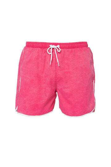 Solid colour swim boxer shorts with profiles, Pink, hi-res