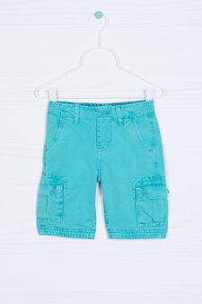 Solid colour 100% cotton Bermuda cargo shorts, Blue, hi-res
