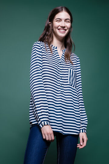 Striped blouse with long sleeves, White/Blue, hi-res