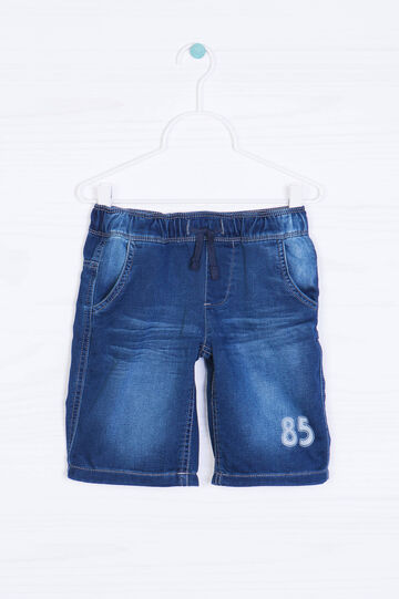 Denim shorts with drawstring, Dark Blue, hi-res