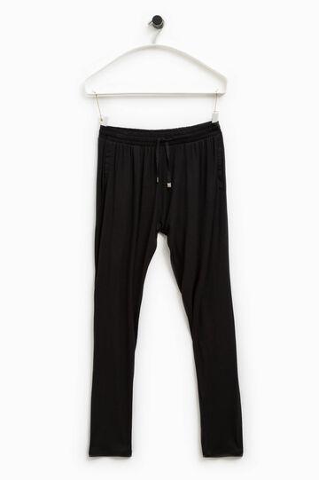 Pantaloni tuta viscosa Smart Basic, Nero, hi-res