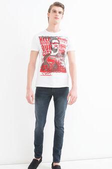 Superhero printed cotton T-shirt, White, hi-res