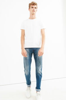 Worn-effect comfort-fit stretch jeans, Medium Wash, hi-res