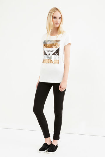 Cotton T-shirt with print and sequins, Milky White, hi-res