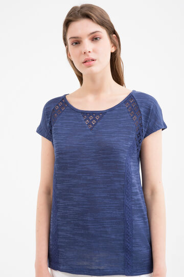 Cotton blend T-shirt with openwork inserts, Navy Blue, hi-res