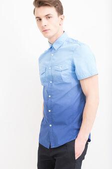Camicia puro cotone degradé G&H, Blu, hi-res