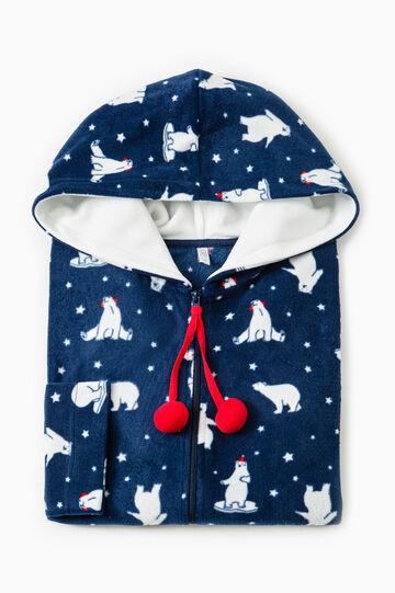 Vestaglia in pile fantasia orsi polari, Blu navy, hi-res
