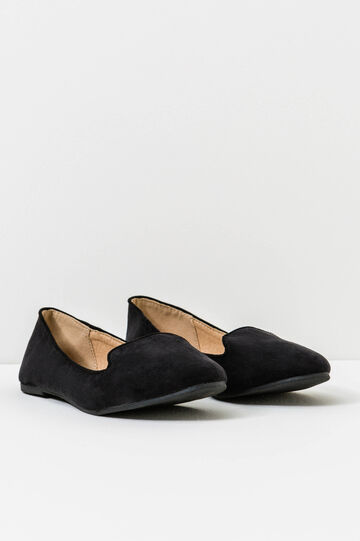 Solid colour ballerina flats with round toe, Black, hi-res