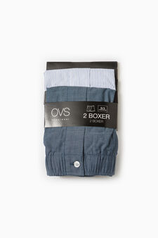 Two-pack cotton boxer shorts solid colour and striped, Grey, hi-res