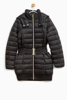 Down jacket with hood and belt, Black, hi-res