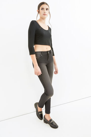 Washed and faded effect skinny fit stretch jeans, Black, hi-res