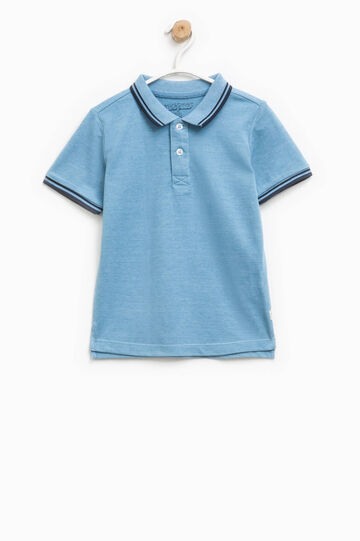 Polo shirt in cotton with striped ribbing, Blue Marl, hi-res