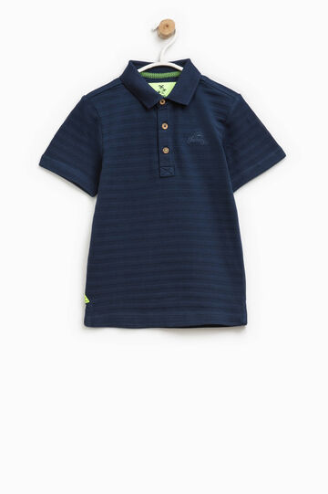 Striped cotton polo shirt with embroidery, Blue, hi-res