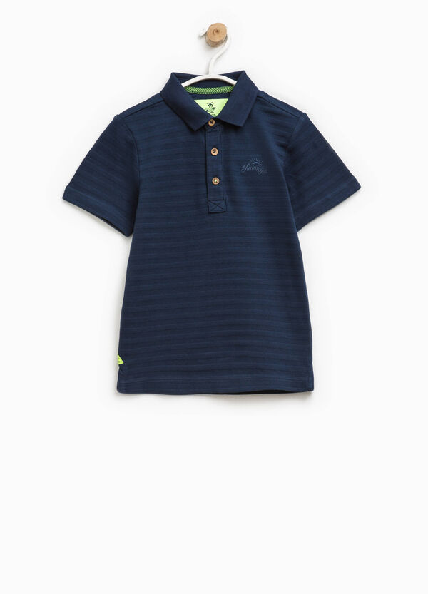 Striped cotton polo shirt with embroidery | OVS