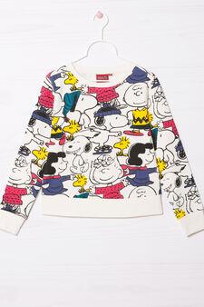 Felpa misto cotone Snoopy, Bianco, hi-res