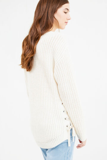 Wool knit pullover with laces, Beige, hi-res