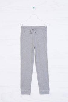 Solid colour 100% cotton joggers, Grey Marl, hi-res