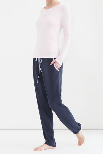 Curvy cotton pyjama trousers, Navy Blue, hi-res