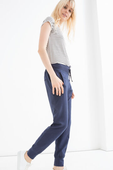 Stretch cotton trousers with drawstring., Navy Blue, hi-res
