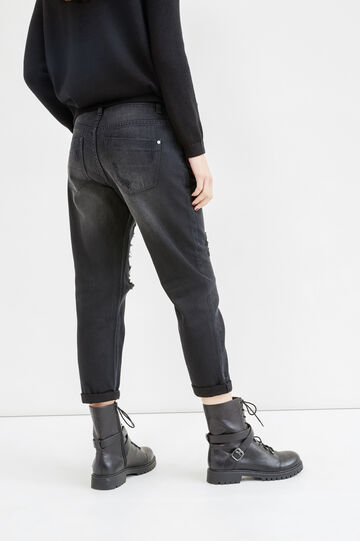 Worn-effect boyfriend jeans with rips, Black, hi-res