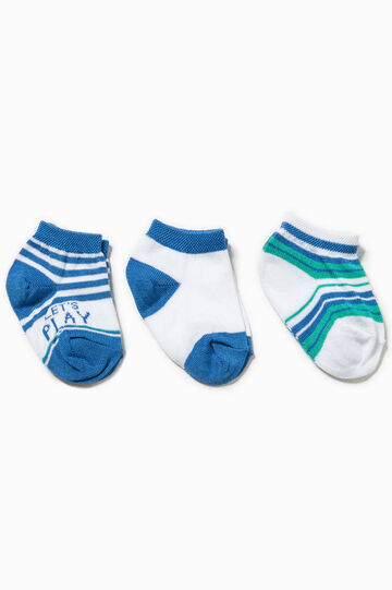 Three-pair pack striped and solid colour socks