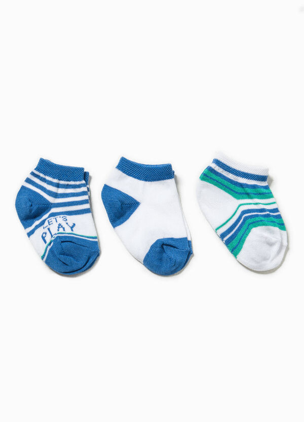 Three-pair pack striped and solid colour socks | OVS