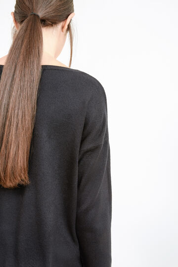 Pullover with small chest pocket, Black, hi-res