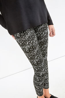 Stretch viscose blend floral leggings, Black/White, hi-res
