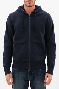 Cotton blend hoodie., Navy Blue, hi-res
