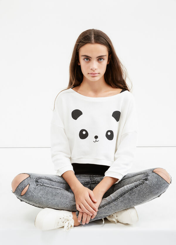 Felpa stretch stampa panda Teen | OVS