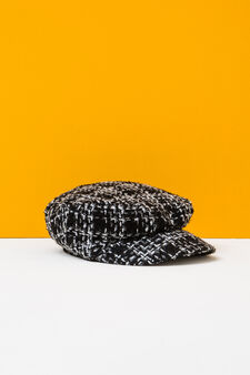 Patterned flat cap with visor, Black, hi-res