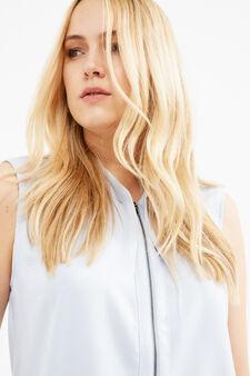 Curvy sleeveless blouse with zip, Light Blue, hi-res