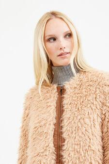 Solid colour faux fur jacket, Beige, hi-res