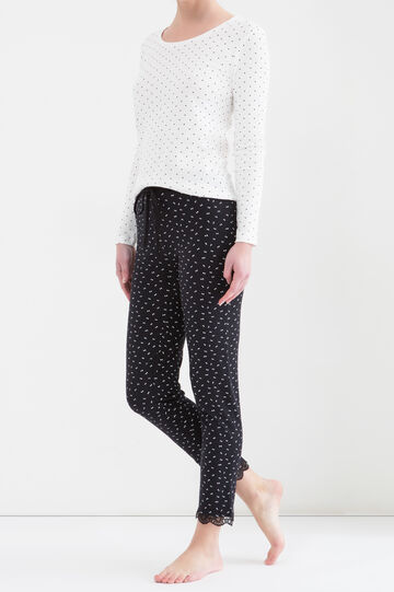 Stretch pyjama bottoms with lace trim, Black, hi-res