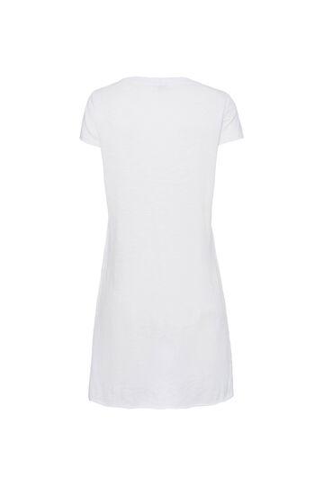 T-shirt lunga in cotone Smart Basic, Bianco ottico, hi-res